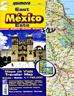 Mexico, East, Road and Tourist Map.