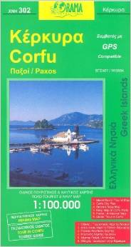 Corfu, Road and Tourist Map.