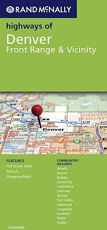 Highways of Denver, Front Range and Vicinity Street Map, Colorado, America.