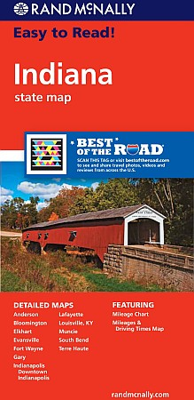 """Indiana """"Easy to Read"""" Road and Tourist Map, America."""