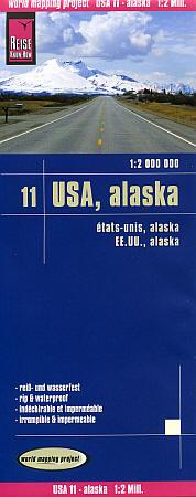 Alaska Road and Topographic Tourist Map, America.