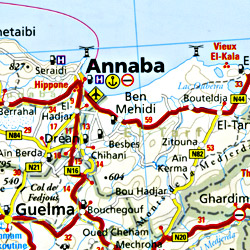 Algeria and Tunisia Road and Topographic Tourist Map.