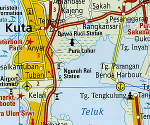 Bali, Lombok and Komodo Road and Topographic Tourist Map, Indonesia.