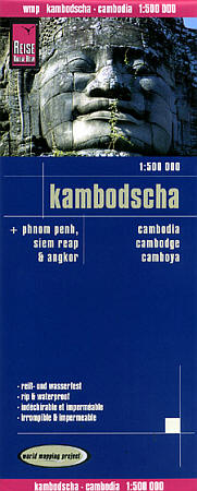 Cambodia Road and Topographic Tourist Map.
