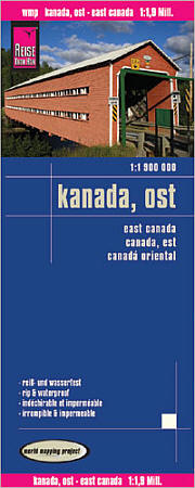 Canada Eastern, Road and Topographic Tourist Map.