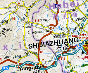 Western China Road and Topographic Tourist Map.