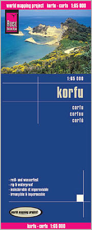 Corfu Island, Road and Topographic Tourist Map, Greece.