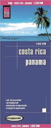 Panama and Costa Rica Road and Topographic Tourist Map.