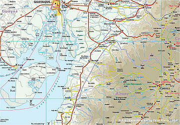 Ecuador and Galapagos Islands, Road and Topographic Tourist Map.