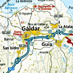 Gran Canaria Island, Road and Topographic Tourist Map, Canary Islands, Spain.