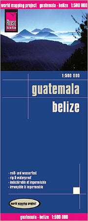 Belize and Guatemala Road and Topographic Tourist Map.