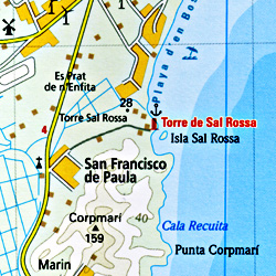 Ibiza and Formentera, Road and Topographic Tourist Map, Balearic Isles, Spain.