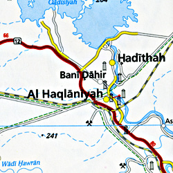 Iraq and Kuwait Road and Topographic Tourist Map.