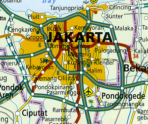 Java Road and Topographic Tourist Map.