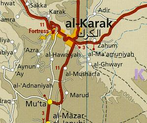 Jordan Road and Topographic Tourist Map.