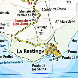 La Palma Road and Topographic Tourist Map, Canary Islands, Spain.