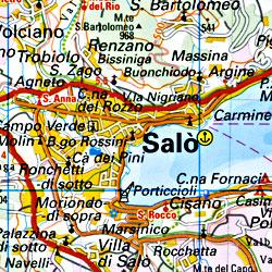 Lake Garda (Gardasee) Road and Topographic Tourist Map.