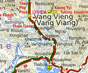 Laos Road and Topographic Tourist Map.