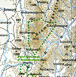 Madagascar Road and Topographic Tourist Map.