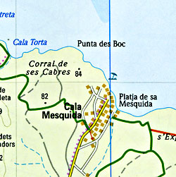 Mallorca, East, Road and Topographic Tourist Map, Balearic Isles, Spain.