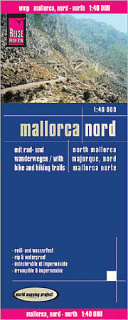 Mallorca, North, Road and Topographic Tourist Map, Balearic Isles, Spain.