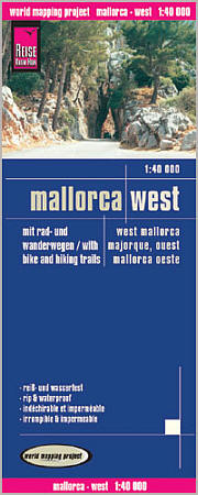 Mallorca, West, Road and Topographic Tourist Map, Balearic Isles, Spain.