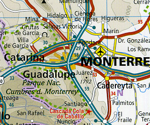 Mexico Road and Topographic Tourist Map.