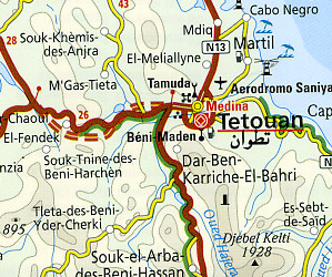 Morocco Road and Topographic Tourist Map.