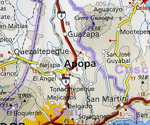 Nicaragua, Honduras and El Salvador Road and Topographic Tourist Map.
