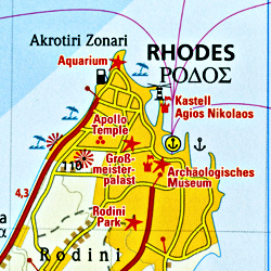 Rhodes Island, Road and Topographic Tourist Map, Greece.