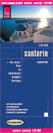 Santorini Island, Road and Topographic Tourist map, Greece.