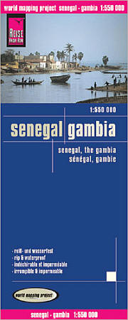 Senegal and Gambia Road and Topographic Tourist Map.