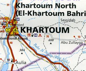 Sudan Road and Topographic Tourist Map.