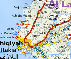 Syria and Lebanon, Road and Topographic Tourist Map.