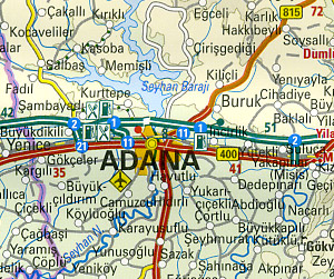 Turkey, Road and Topographic Tourist Map.