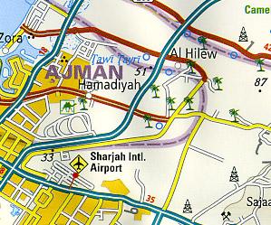 United Arab Emirates, Bahrain and Qatar Road and Topographic Tourist Map.