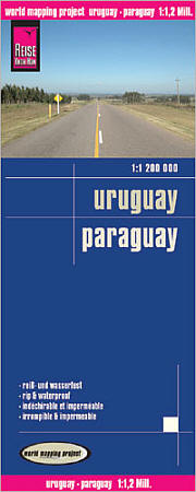 Uruguay and Paraguay Road and Topographic Tourist Map.