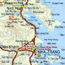 Vietnam South Road and Topographic Tourist Map.