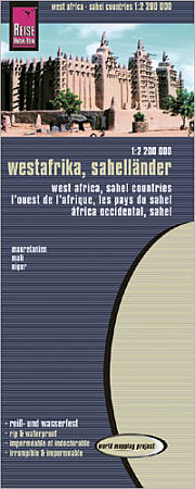 """West Africa """"Sahel Countries"""" Road and Topographic Tourist Map."""