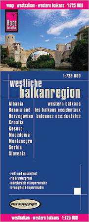Western Balkans Region Road and Topographic Tourist Map.