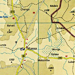 Zambia Road and Topographic Tourist Map.