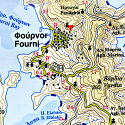 Ikaria and Fourni Islands Road and Physical Tourist Map, Greece.