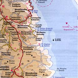 Kefalonia and Ithaca Islands, Road and Physical Tourist Map, Greece.