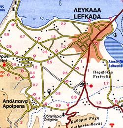 Lefkada Island, Road and Physical Tourist Map, Greece.