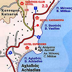 Skiathos Road and Physical Tourist Map, Greece.