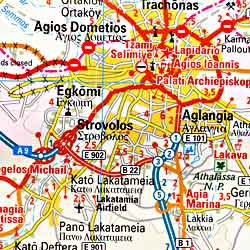 Cyprus Road and Physical Tourist Map.