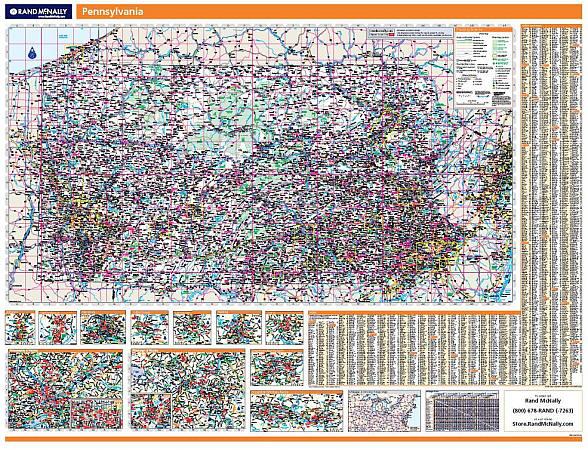 Pennsylvania WALL Map, America.