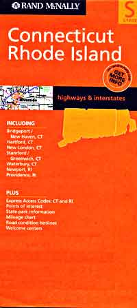 Rhode Island and Connecticut, Road and Tourist Map, America.