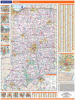 Indiana WALL Map, America.