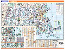Massachusetts WALL Map, America.